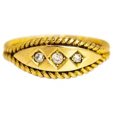 Edwardian Diamond Three-Stone Ring with Double Rope Twisted Band