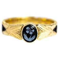 Mid-19th Century Forget Me Not Carved Sardonyx Gold Mourning Ring