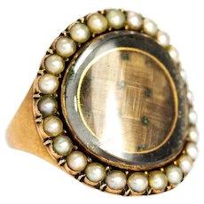 Georgian Pearl and Woven Hair Panel 9 Karat Gold Mourning Ring