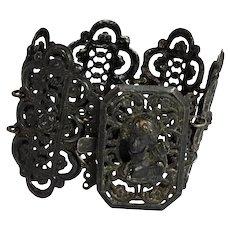 Victorian Berlin Iron Work Panel Cuff Bracelet