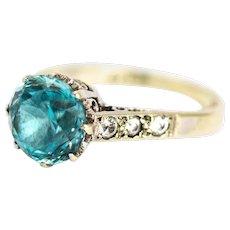 Vintage Zircon and Diamond 9 Carat Gold and Platinum Ring