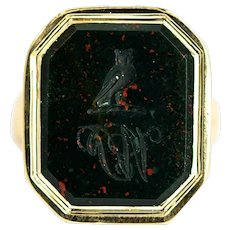 Victorian Bloodstone and 9 Carat Gold Owl Signet Ring