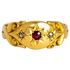 Victorian Ruby and Rose Cut Diamond 18 Carat Gold Ring