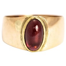 Vintage Garnet Cabochon and 9 Carat Gold Signet Ring