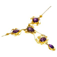 Victorian Amethyst and 15 Carat Gold Filagree Necklace