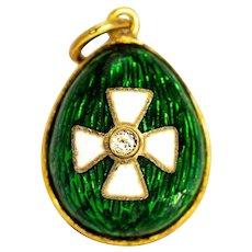 Vintage Green Enamel and White Sapphire Yellow Gold Pendant