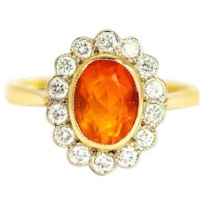 Vintage Fire Opal and Diamond 18 Carat Cluster Ring