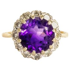 Vintage Amethyst and Diamond 18 Carat Gold Cluster Ring
