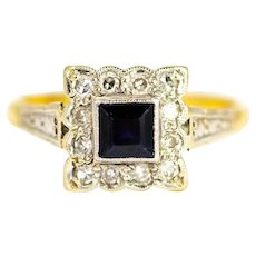 Vintage Sapphire and Diamond Square Cluster Ring