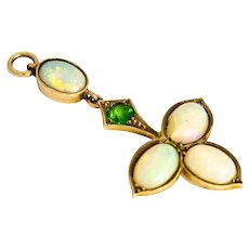 Vintage Opal and Green Garnet Yellow Gold Pendant
