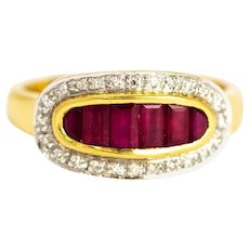 Vintage Ruby and Diamond 18 Carat Gold Ring