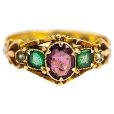 Late Georgian Amethyst, Emerald and Pearl 12 Carat Gold Ring