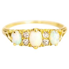 Victorian Opal and Diamond 18 Carat Gold Ring