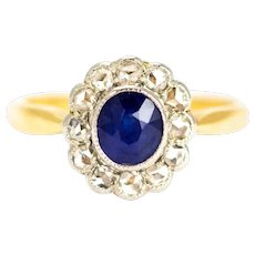 Edwardian Rose Cut Diamond and Sapphire 18 Carat Gold Cluster Ring