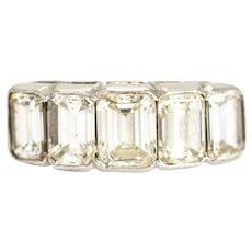 Vintage Emerald Cut Diamond Five-Stone 18 Carat White Gold Band