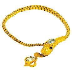 Victorian 18 Carat Gold Aquamarine & Ruby Snake Bracelet in Original Fitted Box