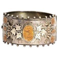 Victorian Silver and Gold Wide Cuff Bangle