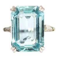 Art Deco Aquamarine and Diamond Platinum Cocktail Ring