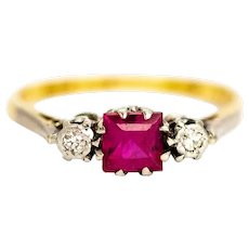 Edwardian 18 Carat Gold and Platinum Ruby and Diamond Three-Stone Ring