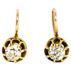 Victorian Diamond and 18 Carat Gold Drop Earrings