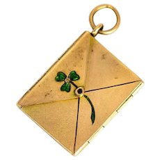 Late Victorian Gold and Enamel Envelope Locket