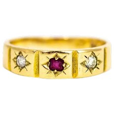Victorian 15 Carat Gold Ruby and Diamond Three-Stone Ring