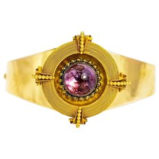 Victorian 15 Carat Gold and Amethyst Bangle in Original Fitted Box