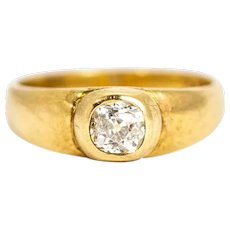 Vintage 9 Carat Gold Cushion Cut Diamond Signet Ring