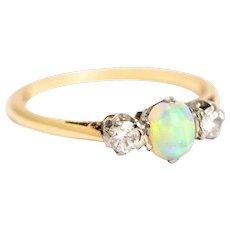 Vintage 18 Carat Gold & Platinum Opal and Diamond Three-Stone Ring