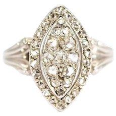 Vintage 18 Carat White Gold Diamond Marquise Ring