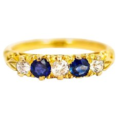 Victorian 18 Carat Gold Sapphire and Diamond Five-Stone Ring
