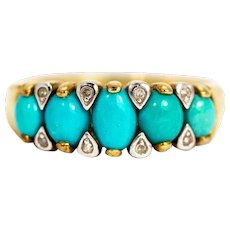 Vintage 9 Carat Gold Turquoise and Diamond Five-Stone Ring