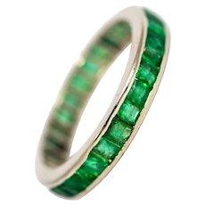 Vintage Platinum Emerald Full Eternity Band