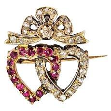 Vintage 18 Carat Gold Diamond and Pink Topaz Linked Heart Brooch