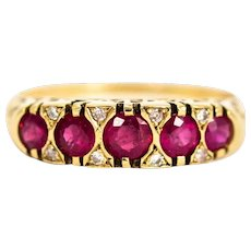 Vintage 9 Carat Gold Ruby Five-Stone Ring with Diamond Points