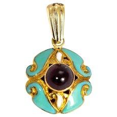 Vintage 15 Carat Gold Blue Enamel and Garnet Cabochon Pendant