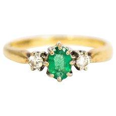 Vintage 9 Carat Gold Emerald and Diamond Three-Stone Ring