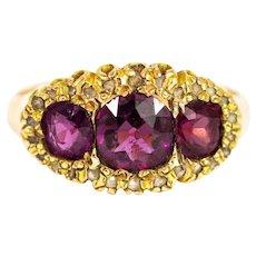Victorian 15 Carat Gold Garnet and Diamond Ring