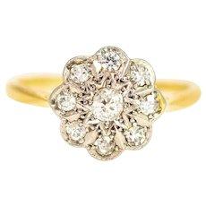 Vintage 18 Carat Gold and Platinum Diamond Cluster Ring