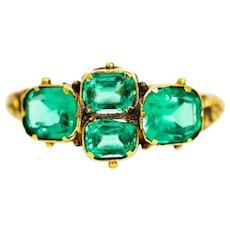 Georgian 9 Carat Gold Green Paste Ring