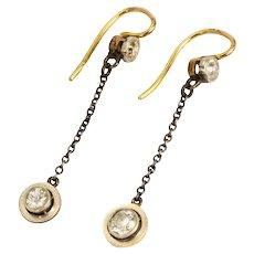 Edwardian 18 Carat Gold Diamond Dangle Earrings