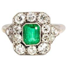 Vintage Platinum Emerald and Diamond Cluster Ring