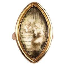 Georgian Navette Sepia Mourning Ring