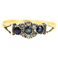 Georgian 9 Carat Gold Diamond and Topaz Cluster Ring