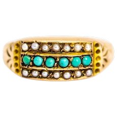Victorian 9 Carat Gold Pearl and Turquoise Triple Ring