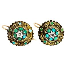 Victorian 9 Carat Gold Turquoise and Diamond Target Earrings