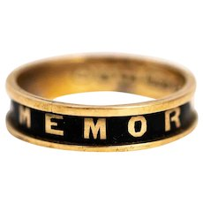 Victorian 9 Carat Gold and Black Enamel Mourning Band