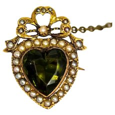 Edwardian 9 Carat Gold Green Paste and Pearl Heart Brooch