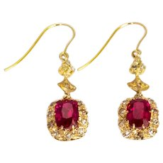 Vintage Synthetic Ruby and Diamond Gold Cluster Earrings