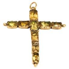 Georgian Foiled Citrine and Yellow Gold Cross Pendant